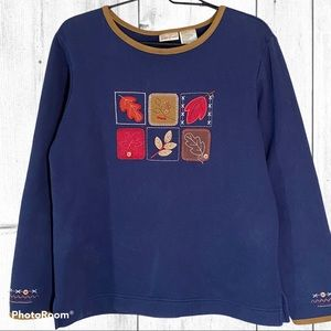 Bobbie Brooks Fall Sweatshirt Wmn S Blue Brown 💛